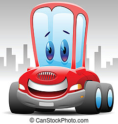 cheerful toon car in urban background vector illustration