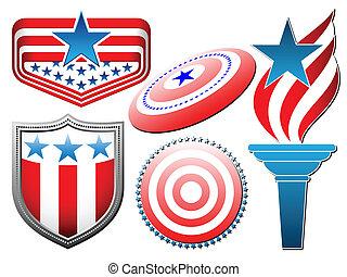 american symbolics set - vector american symbolics set