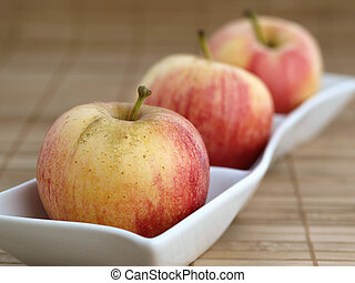 Three apples in a bowl 01 - Three apples in a  white bowl