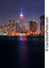 Empire State Building at night - NEW YORK CITY, NY - JUL 4:...