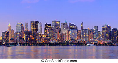 New York City Manhattan dusk panorama - New York City...