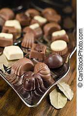 chocolates on a silver platter