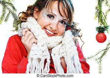 beautiful woman in warm clothing with white neckerchief