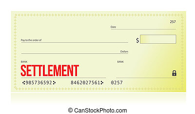 settlement bank check illustration design over white...