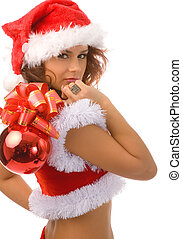 christmas - young woman in christmas fancy dress on white...