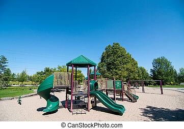 Playground Equipment in a Public Park - Playground equipment...