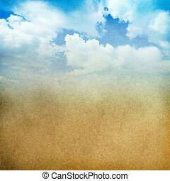 Fantastic Cloudscape - Retro paper texture background...