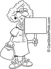 Senior, medborgare, dam, underteckna