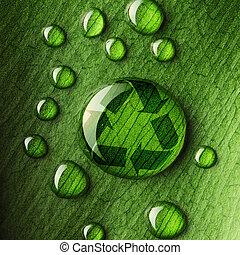 agua, gotas, hoja, reciclar, logotipo