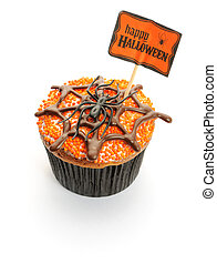 Halloween cupcake with decoration isolated on white
