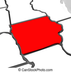 Iowa Red Abstract 3D State Map United States America