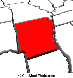 Arkansas Red Abstract 3D State Map United States America
