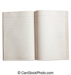 two page of old paper book with order line isolated on white...