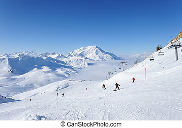 Mountains with snow in winter, Val-dIsere, Alps, France