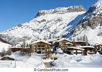 Mountain ski resort with snow in winter, Val-dIsere, Alps,...
