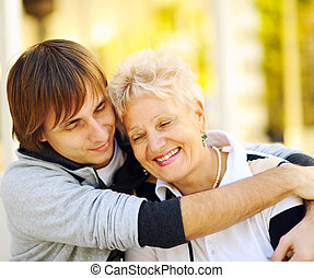 Happy mother and son - Mother and son having a hug