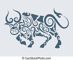 Bull tattoo design vector - Bull with floral ornament...