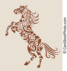 Horse tattoo design vector - Horse sketch with floral...
