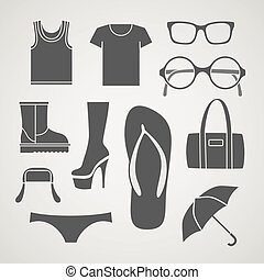 Set of fashionable clothes silhouettes,
