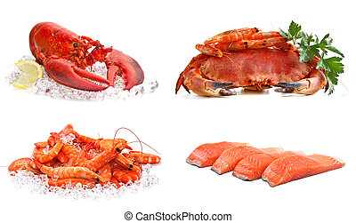 Set of sea food on a white background. Crab, shrimps,...