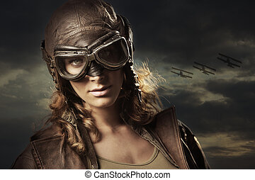 Woman Hero - Hero woman airplane aviator