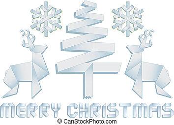 christmas tree, deer and snowflake