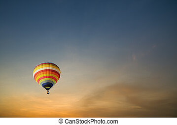 Hot air ballons during sunset