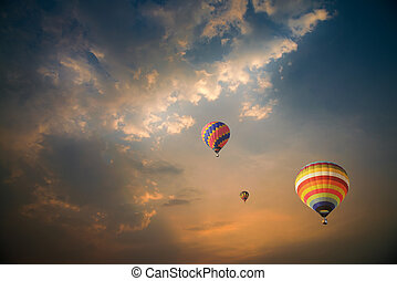 Hot air ballons during sunset - Colorful hot air balloons...