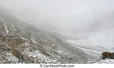 Mount Edith Cavell Snowstorm - Snowstorm and wind in a...
