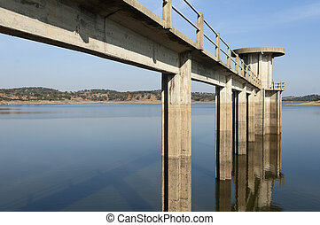 Outlet tower in Vigia dam supplying drinking water to the...