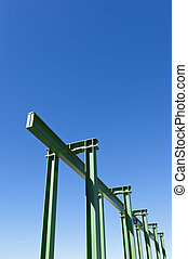 Gantry crane - Detail of a small gantry crane painted green...