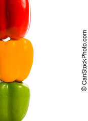 Stoplight Peppers - A stack of colorful and delicious...