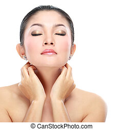 Beautiful asian woman face with smile for skincare,...