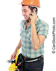 happy worker using mobile phone - Portrait of an happy...