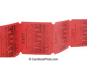 Raffle Tickets - A strand of bright red rafflle tickets.