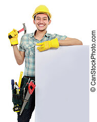 Construction worker with blank space - Construction worker...