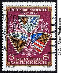 Postage stamp Austria 1979 Arms of Ried, Scharding and...