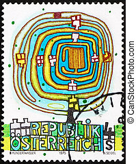 Postage stamp Austria 1975 The Spiral Tree, by Hundertwasser...