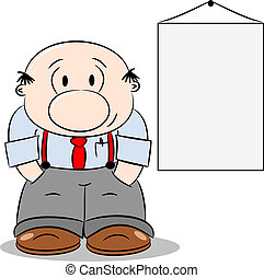 Happy Cartoon Businessman - A cartoon businessman next to a...
