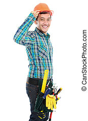 happy worker - Portrait of young happy construction worker...