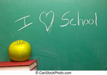 I Love School written on a chalkboard.
