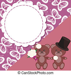 wedding card with two teddy bears