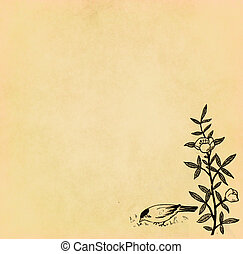 Illustration of bird with flower on old paper