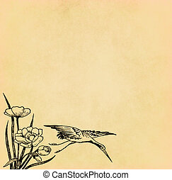 Illustration of flying bird with flower on old paper