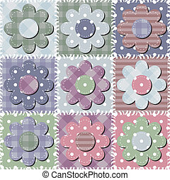 patchwork background with flowers