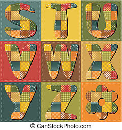 patchwork scrapbook alphabet with different textile patterns