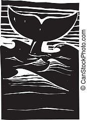 Whale Fluke - Expressionist woodcut style Whale tale or...