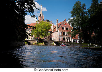 Brugge, Belgium - Medieval house on the canals of Bruges