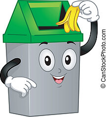 Trashcan Mascot - Mascot Illustration Featuring a Trash Can...