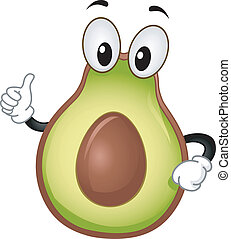 Avocado Mascot - Mascot Illustration Featuring an Avocado...
